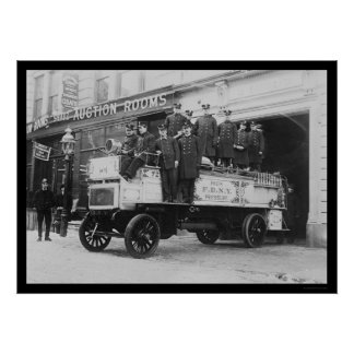 Firemen Posed on Fire Engine in New York City 1912 Print