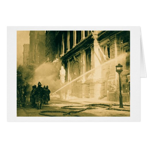 Firemen Spraying Building Pine Street New York Greeting Card