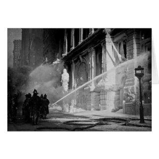 Firemen Spraying Building Pine Street New York Card