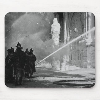 Firemen Spraying Building Pine Street New York Mouse Pad
