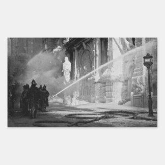 Firemen Spraying Building Pine Street New York Rectangular Sticker