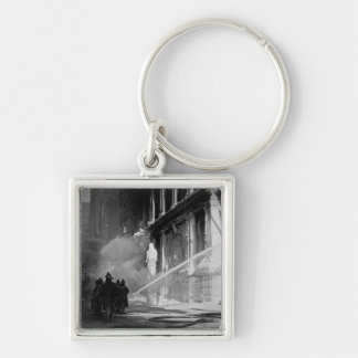 Firemen Spraying Building Pine Street New York Silver-Colored Square Keychain
