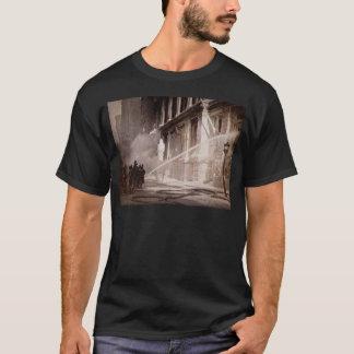 Firemen Spraying Building Pine Street New York T-Shirt