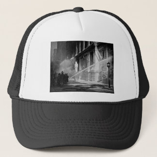 Firemen Spraying Building Pine Street New York Trucker Hat