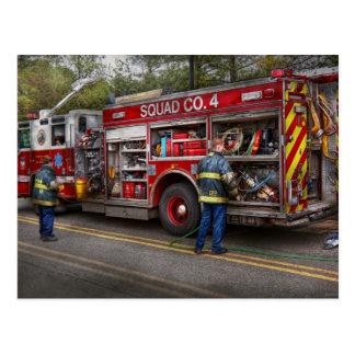 Firemen - The modern fire truck Postcard