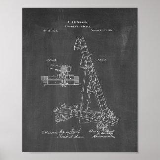 Firemen's Ladders Patent - Chalkboard Poster