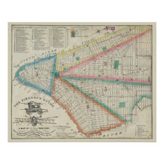 Firemen's Map of NYC in 1834 - Vintage FDNY Poster