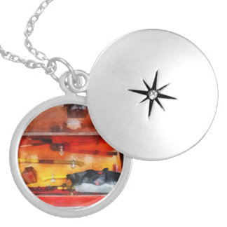 Firemen's Tools of the Trade Round Locket Necklace