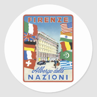 Firenze Allergo Delle Nazioni Pegatina Redonda