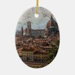 Firenze II Adorno Navideño Ovalado De Cerámica