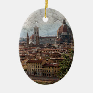 Firenze II Double-Sided Oval Ceramic Christmas Ornament