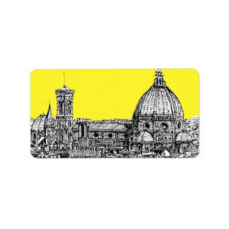 Firenze in canary yellow custom address label