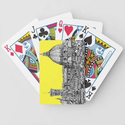 Firenze in canary yellow playing cards