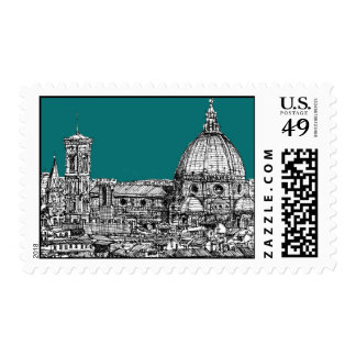 Firenze in turquoise postage stamp