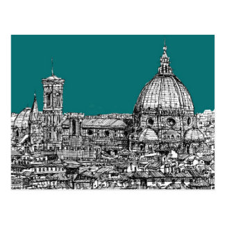 Firenze in turquoise postcard
