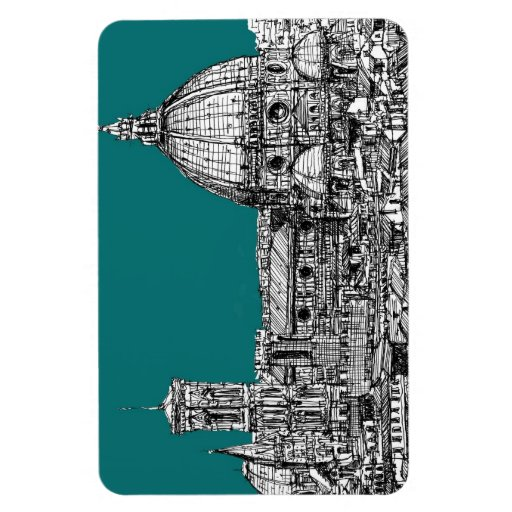 Firenze in turquoise rectangle magnet