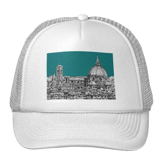 Firenze in turquoise trucker hat