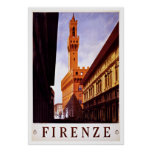 Firenze Italy Palazzo Vecchio Vintage Travel Poster