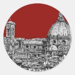 Firenze rojo Italia Etiqueta Redonda