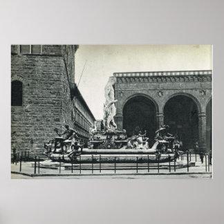 Firenze Stattue of David and Loggia dei Lanzi Print