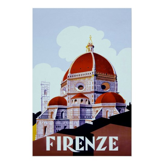 Firenze ~Vintage Italian Travel Poster. Poster