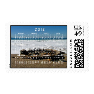 Firepit on the Beach; 2012 Calendars Postage Stamp