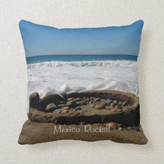 Firepit on the Beach; Mexico Souvenir Pillows