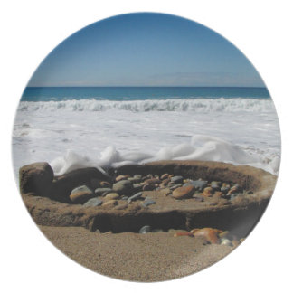 Firepit on the Beach; No Text Melamine Plate