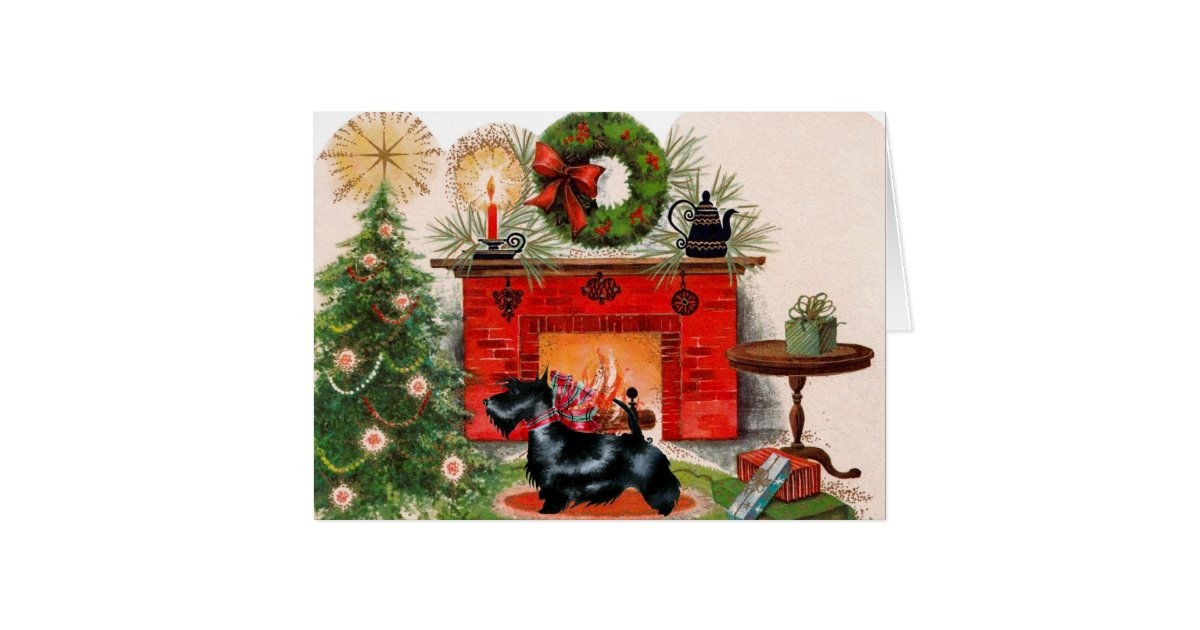 Fireplace and Scottish Terrier Christmas Card | Zazzle.com
