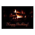 Fireplace Birthday Card