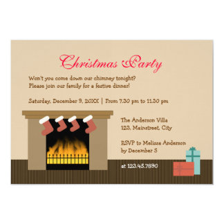 Fireplace Christmas Party 5x7 Paper Invitation Card