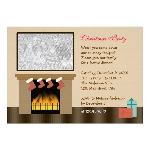 Fireplace Christmas Party Invites