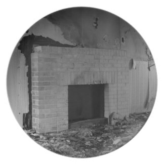 Fireplace in Black and White Melamine Plate