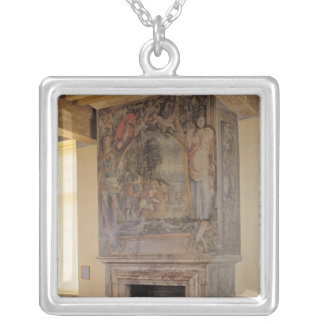 Fireplace in the Chambre du Roi Silver Plated Necklace