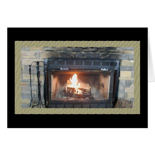 Fireplace Oil Painting Card*