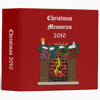 Fireplace on Christmas Eve 3 Ring Binder