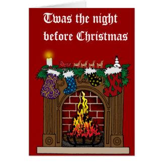 Fireplace on Christmas Eve Greeting Card