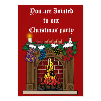 Fireplace on Christmas Eve 5x7 Paper Invitation Card