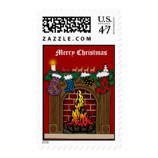 Fireplace on Christmas Eve Postage