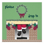 Fireplace Santa Invitation 13 Cm X 13 Cm Square Invitation Card