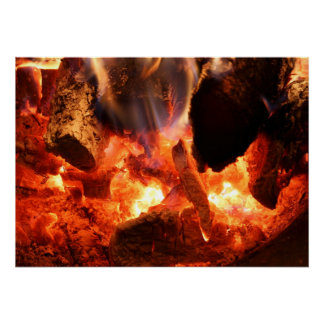 Fireplace Smoldering Embers Poster