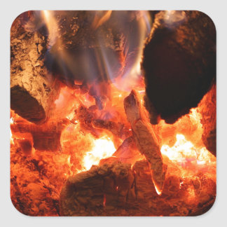 Fireplace Smoldering Embers Square Sticker