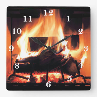 Fireplace Square Wall Clock