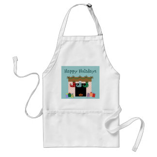 Fireplace Stockings Holiday Apron