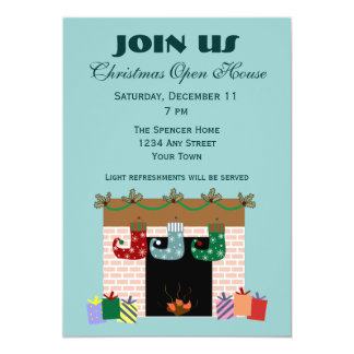 Fireplace Stockings Holiday Invitation