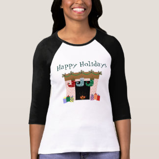 Fireplace Stockings Holiday T-Shirt