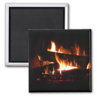 Fireplace Warm Winter Scene Photography 2 Inch Square Magnet