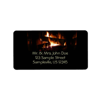 Fireplace Warm Winter Scene Photography Address Label