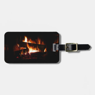 Fireplace Warm Winter Scene Photography Bag Tag