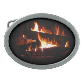Fireplace Warm Winter Scene Photography Belt Buckle